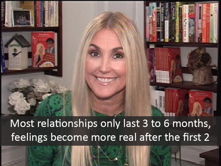 Most relationships only last three to six months, feelings chamge after the first two months